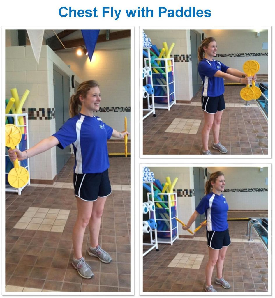 photo collage of woman using pool dumbells