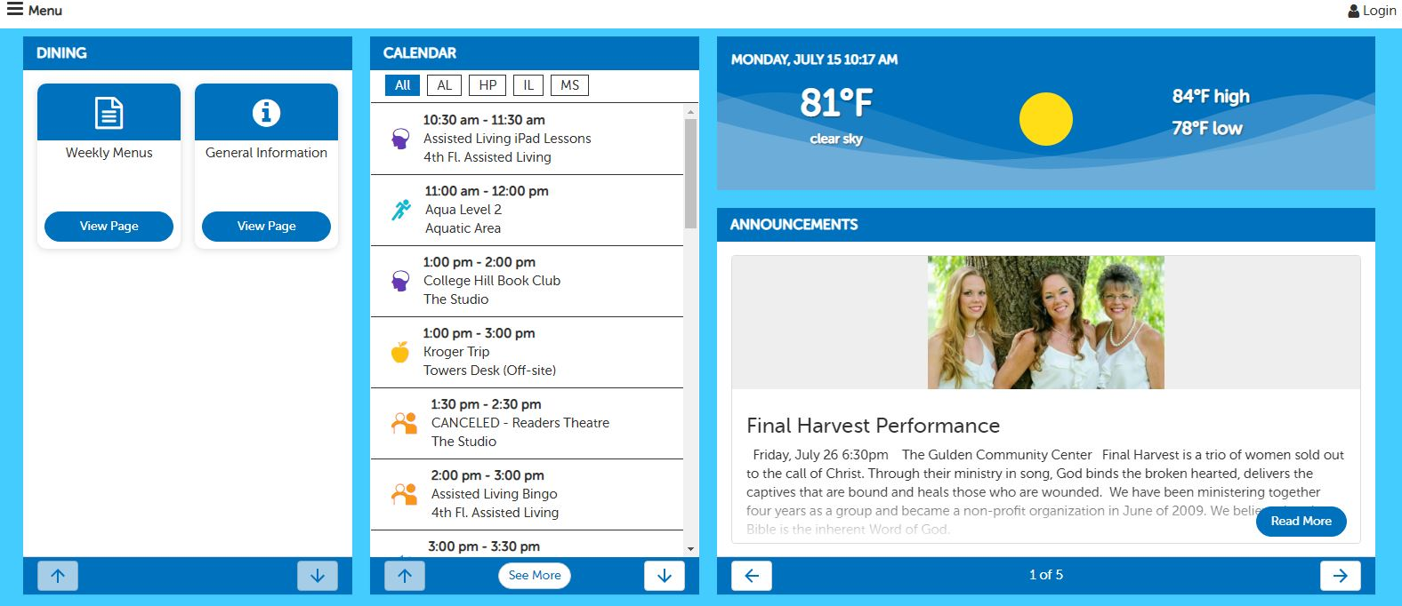 screen shot of internal internet