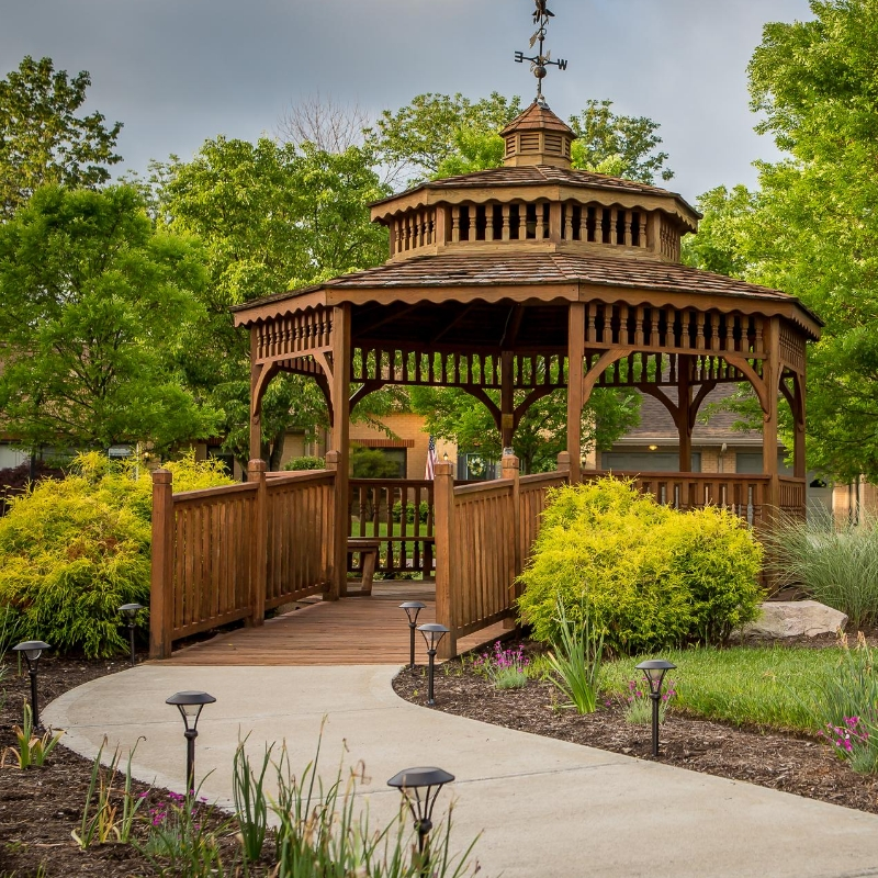 gazebo with pathway on a campus