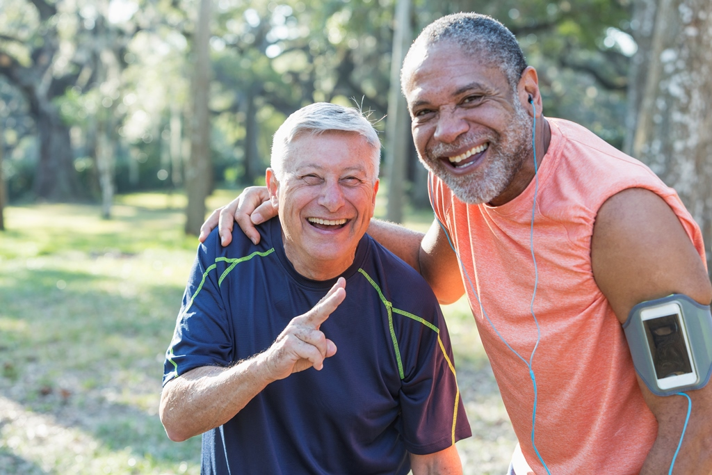 senior men outdoors exercising
