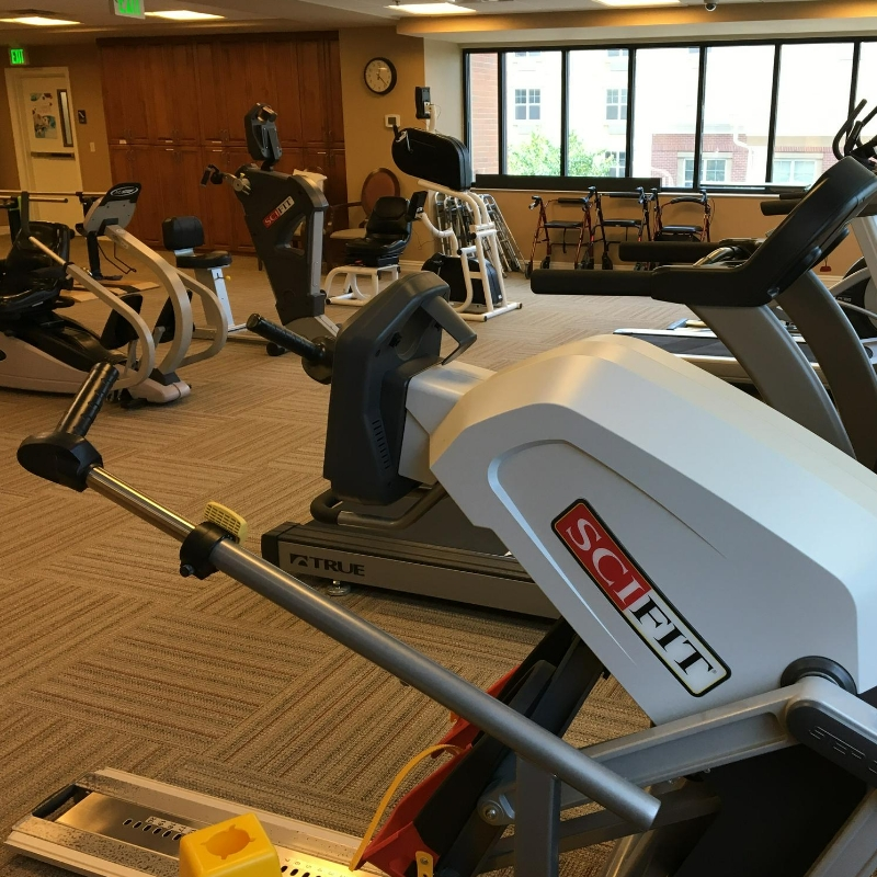 fitness equipment in therapy gym