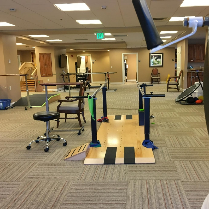 balance bars inside a therapy gym