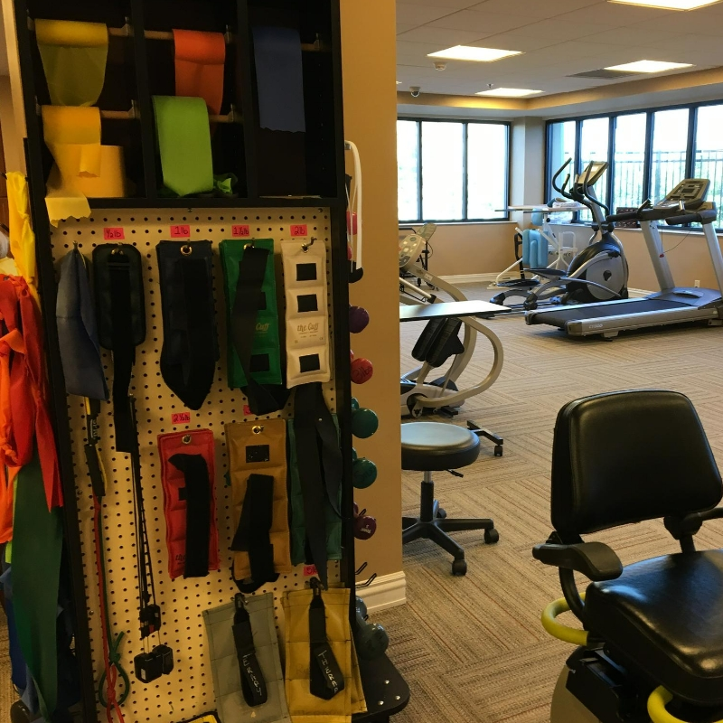 therapy bands and equipment in therapy gym