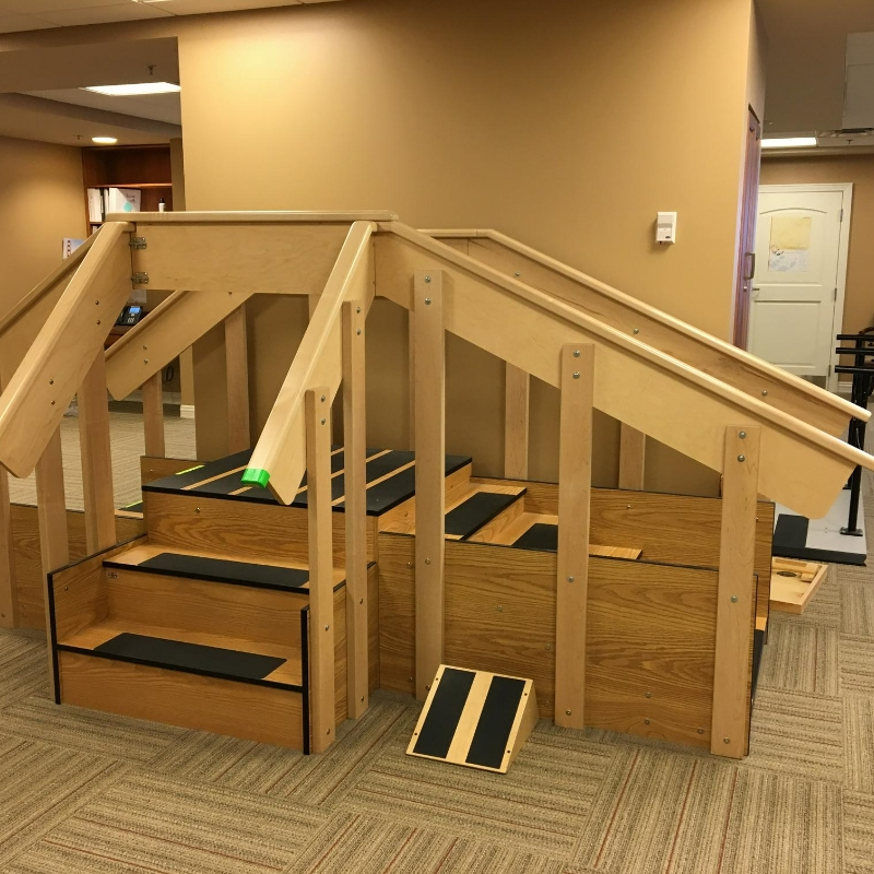wooden steps in therapy gym