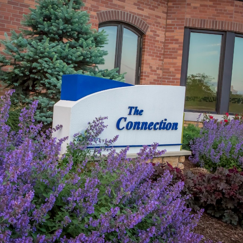 entrance sign for connection fitness center
