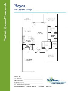 floor plan of Hayes villa home at Twin Towers senior living community