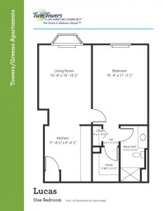 floor plan of Lucas one bedroom apartment
