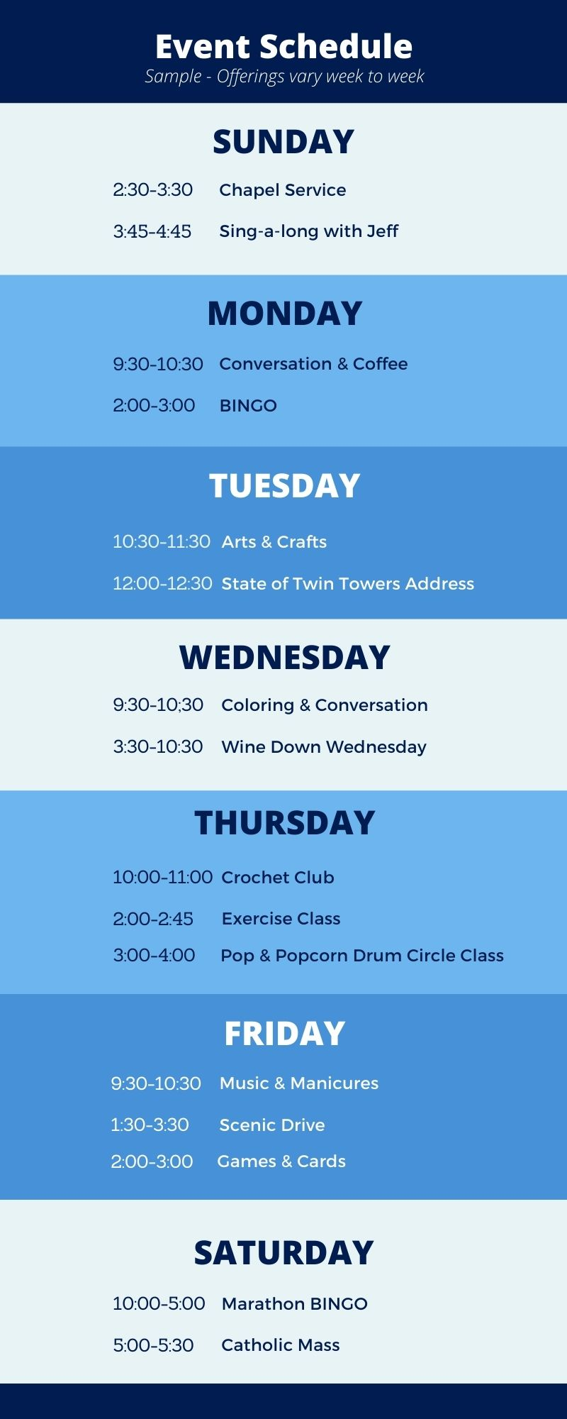weekly calendar of events